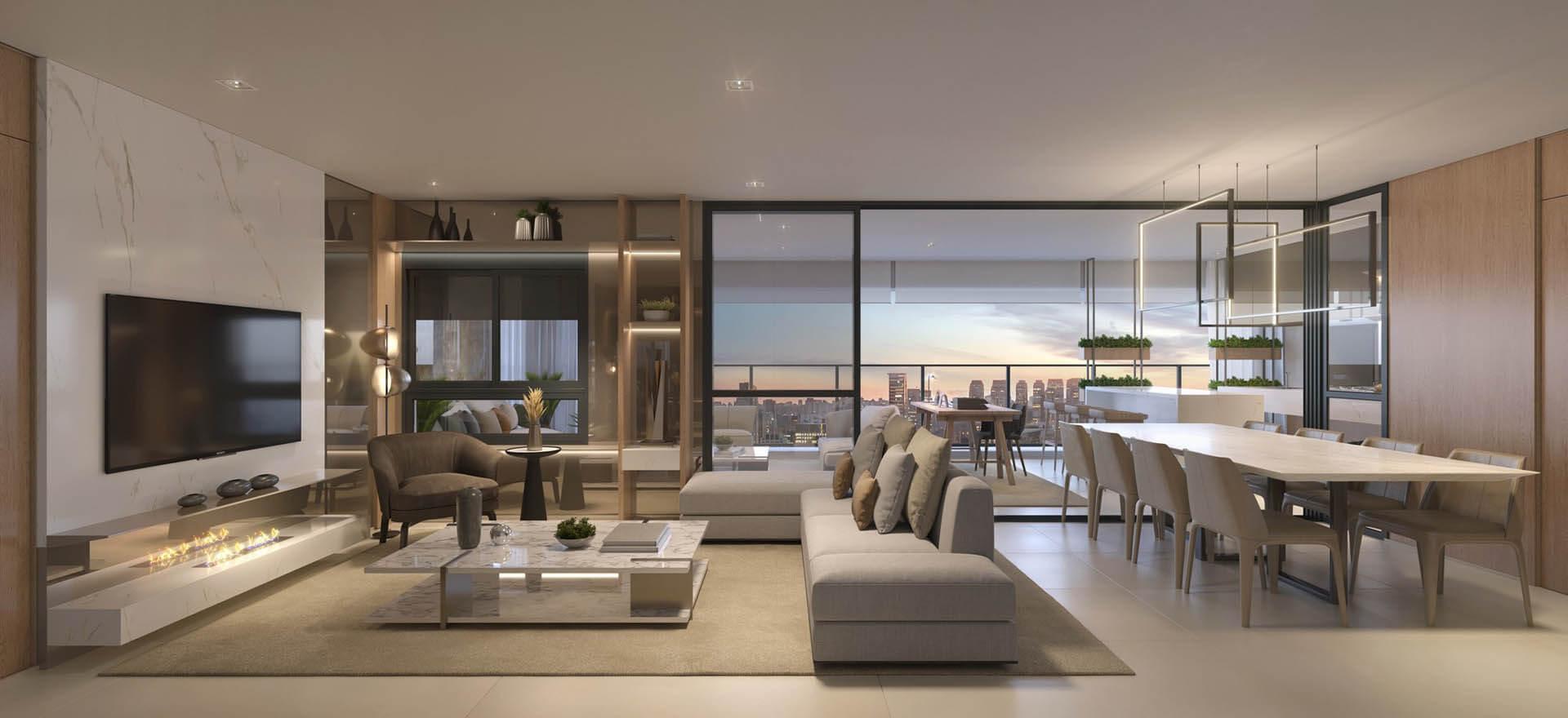 LIVING que se conecta ao terraço por meio de amplas aberturas com caixilhos que vão do piso ao teto. Além de estabelecer a conexão, esses vidros proporcionam boa entrada de iluminação natural a todo o interior da unidade.