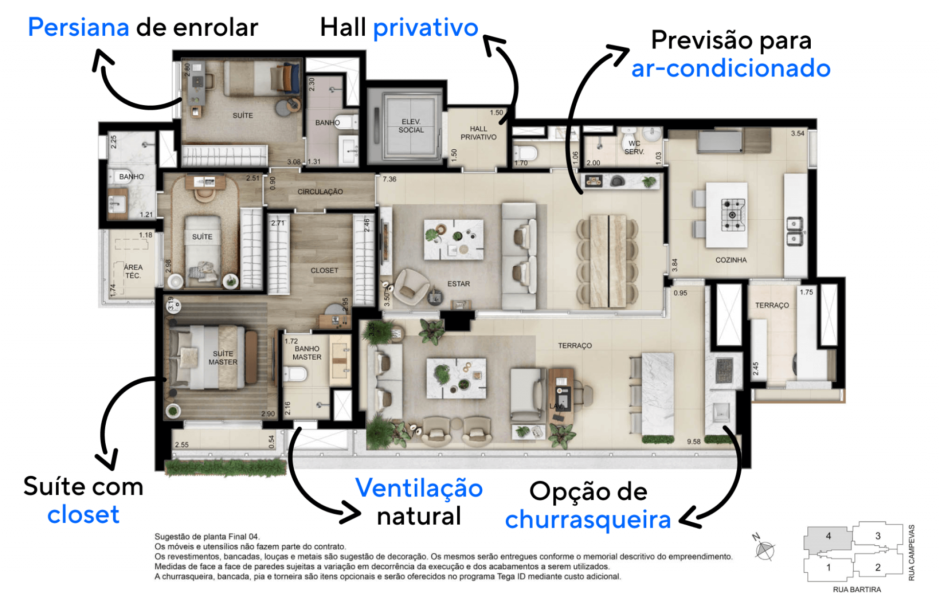 156 M² - 3 SUÍTES. Apartamentos com hall privativo para acesso direto e exclusivo ao apartamento e lavabo que serve diretamente à área social. Conta também com acesso de serviço para entrada independente.