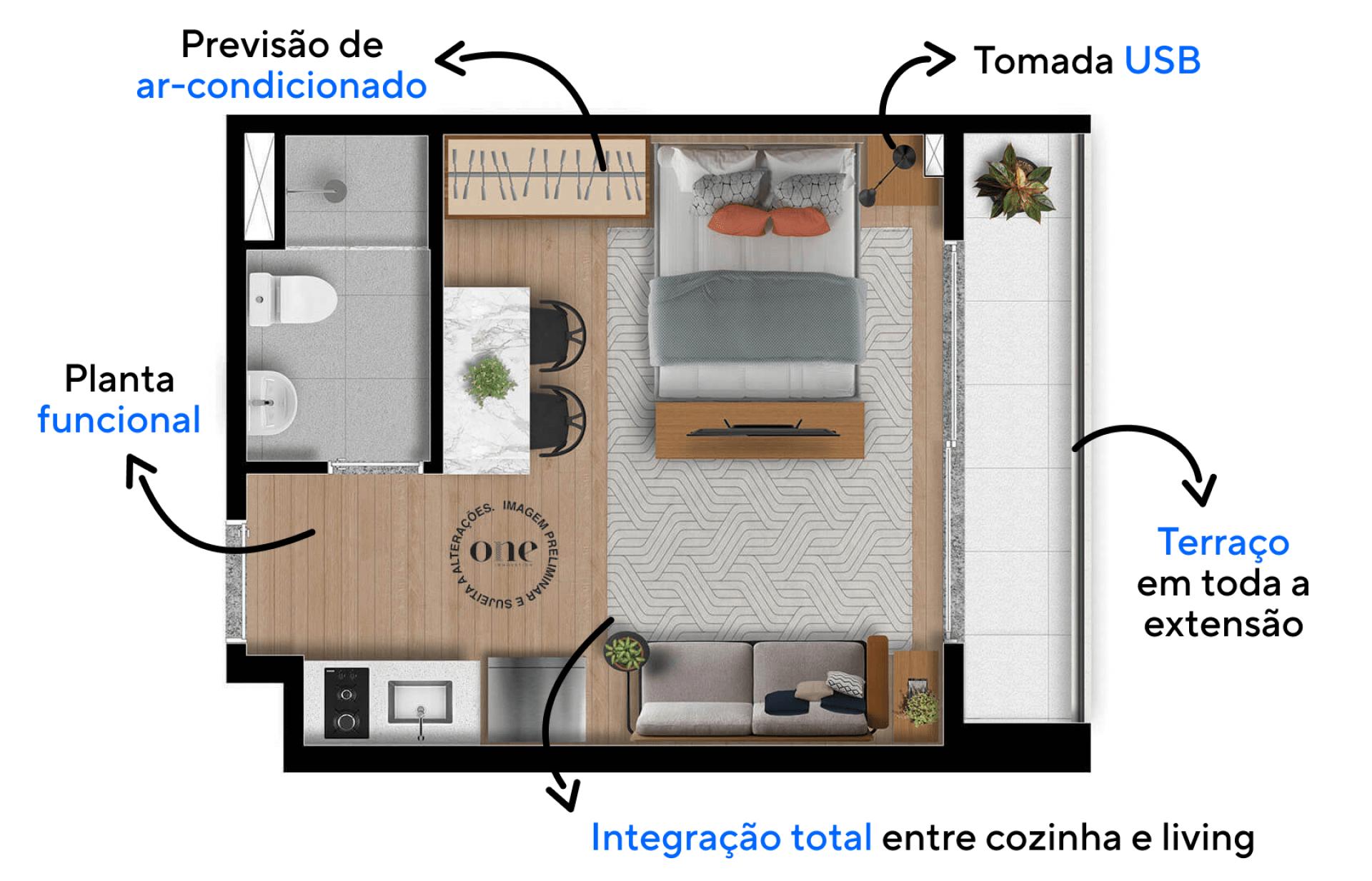 27 M² - STUDIO com planta funcional e compacta que integra totalmente os ambientes, uma configuração para quem gosta de um estilo de vida prático e urbano.