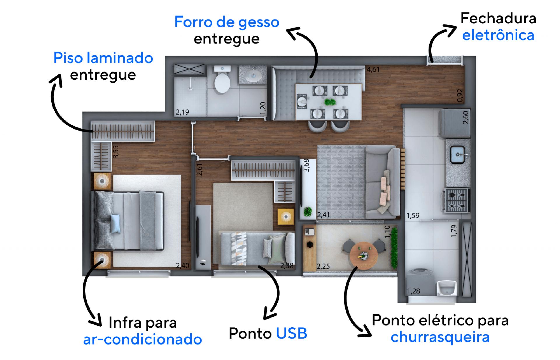 46 M² - 2 DORMITÓRIOS. Apartamentos funcionais com possibilidade de terraço gourmet. Todas as unidades são entregues com ponto para churrasqueira, forro em gesso, piso laminado nas áreas quentes e ponto USB nos dormitórios.