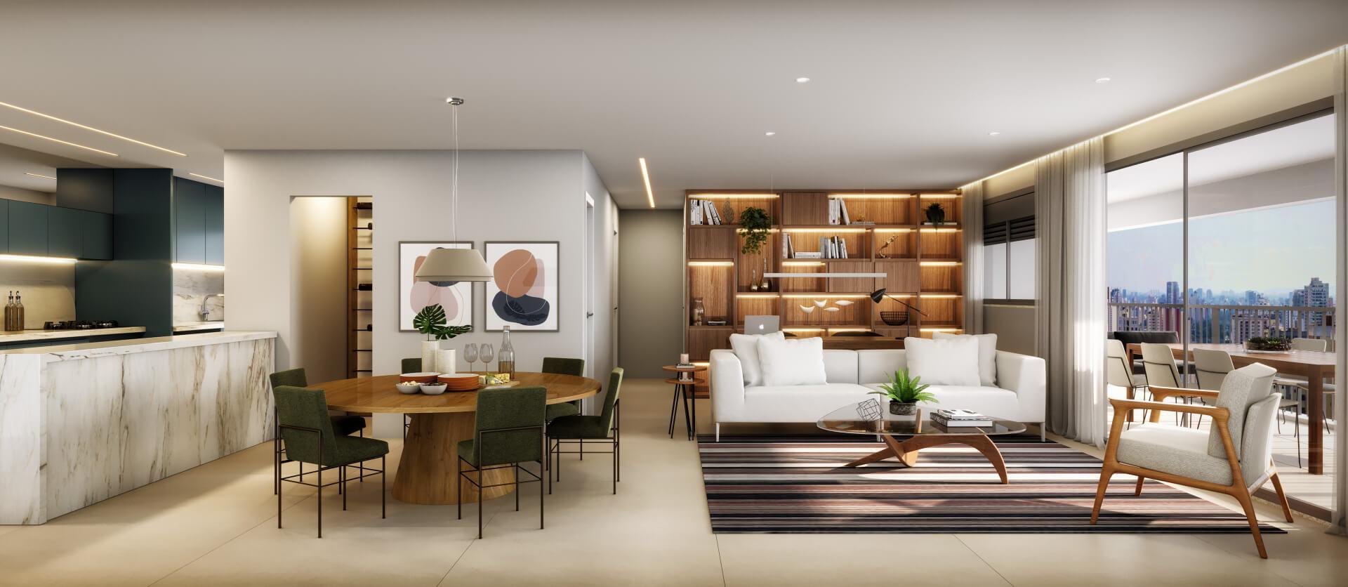 PERSPECTIVA ARTÍSTICA DO LIVING do apto de 115 m² com opção que amplia a área social, criando um espaço interno totalmente integrado e com muito espaço para o dia a dia da família ou para receber convidados.