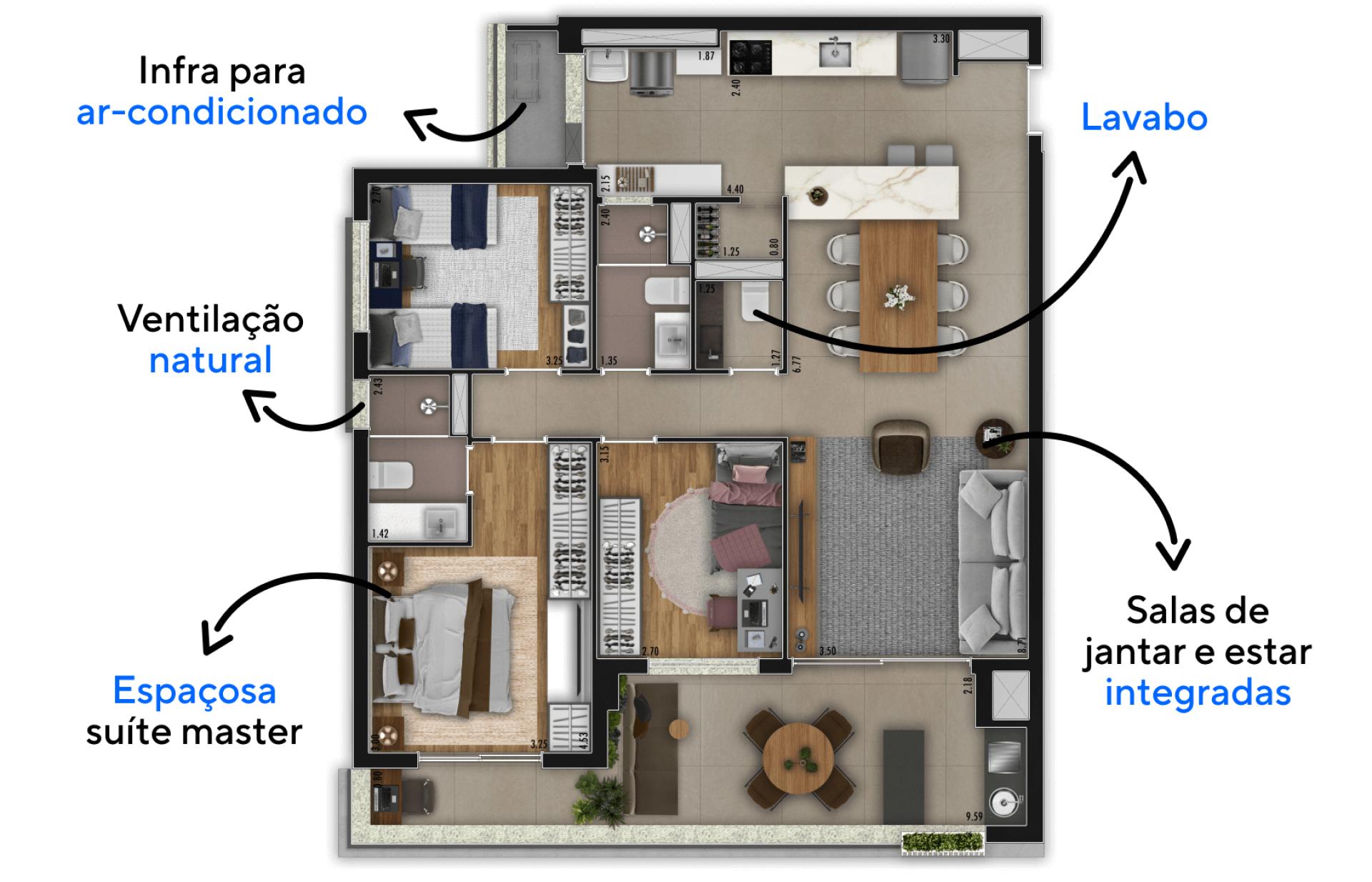 115 M² - 3 DORMITÓRIOS, SENDO 1 SUÍTE. Apartamentos com confortáveis dormitórios que acomodam uma família de até 5 pessoas, destaque para suíte master com ampla área de descanso, espaço para armário linear e banheiro com iluminação natural.