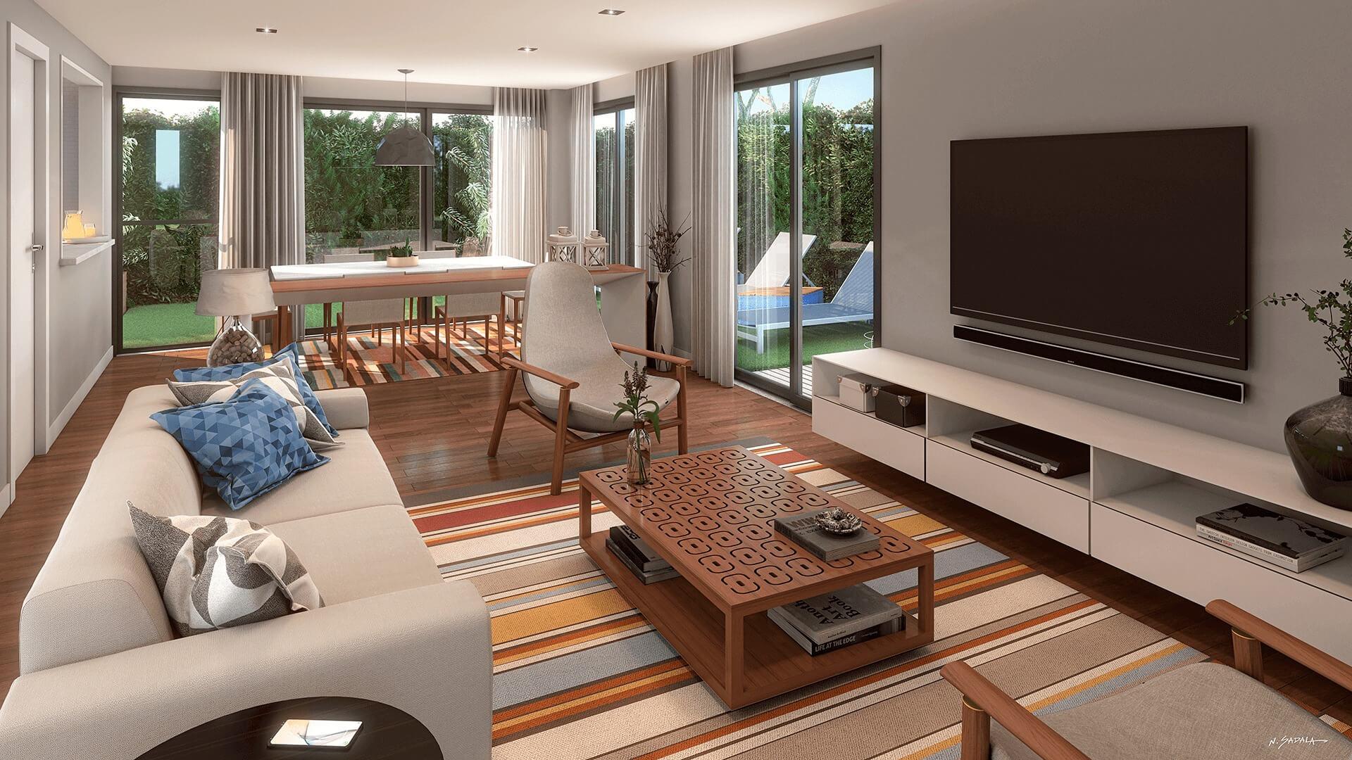 SALA do apto garden de 207 m².