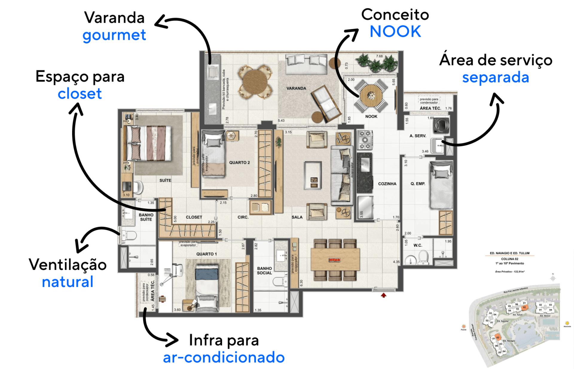 122 M² - 3 QUARTOS, SENDO 1 SUÍTE. Apartamentos com conceito inovador NOOK, uma configuração que integra cozinha à varanda, criando uma copa para que você realize as refeições rápidas apreciando a bela vista do entorno.