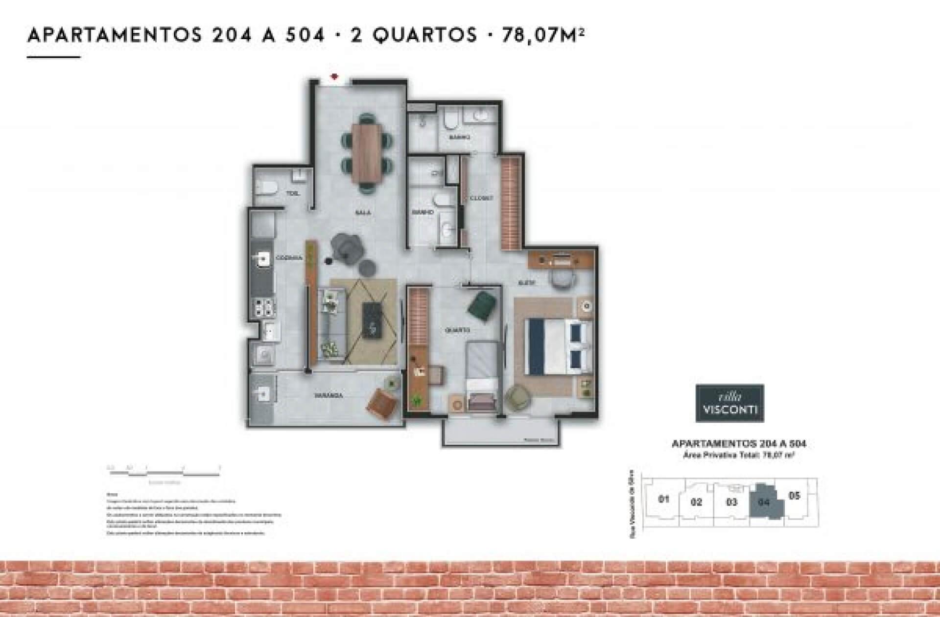 78 M² - 2 QUARTOS, SENDO 1 SUÍTE.