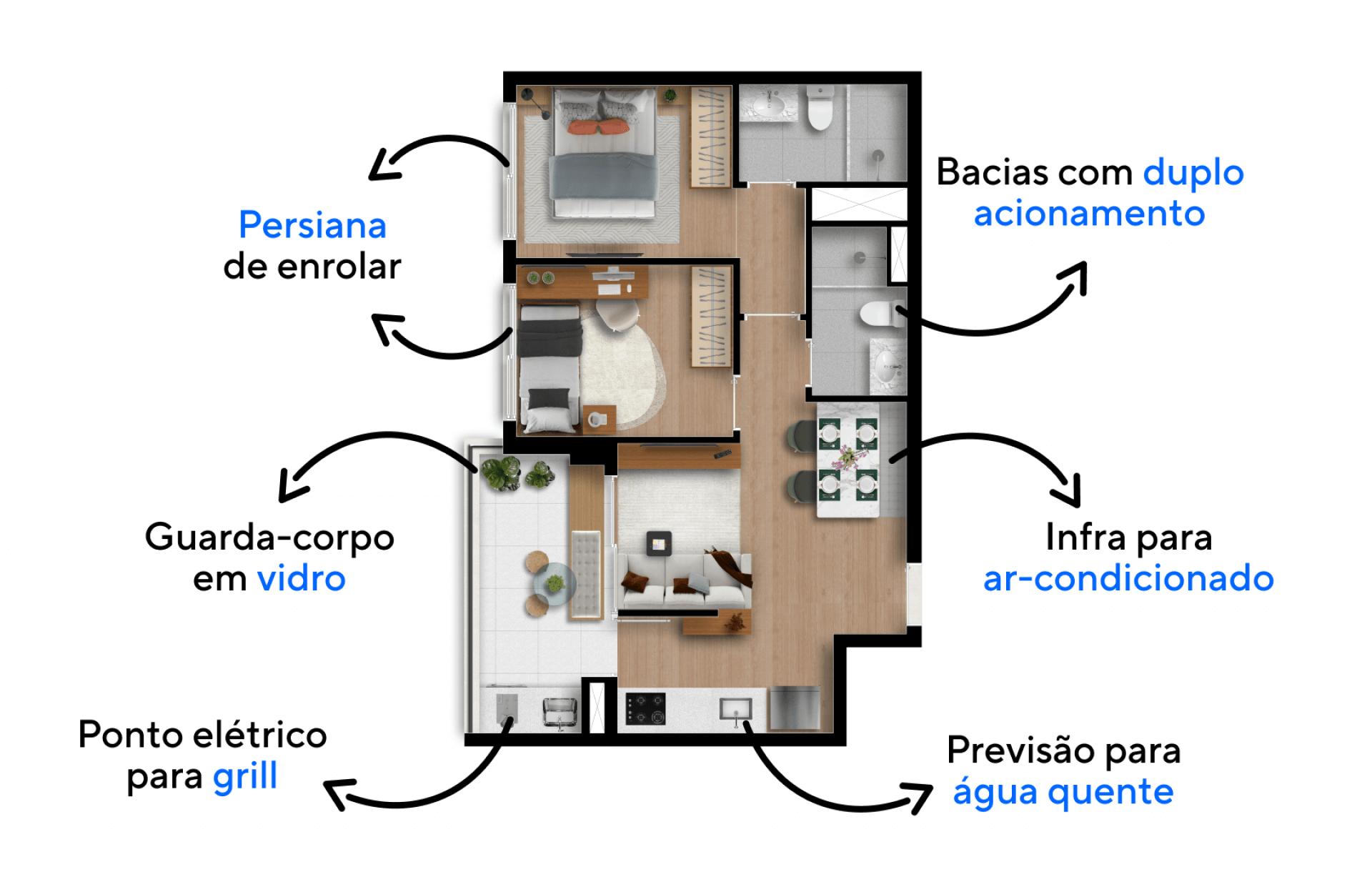 54 M² - 2 DORMITÓRIOS, SENDO 1 SUÍTE. Apartamentos com configuração funcional e prática para o dia a dia de uma família, contam com uma ampla área social que integra os espaços de jantar e estar, além de confortáveis dormitórios.