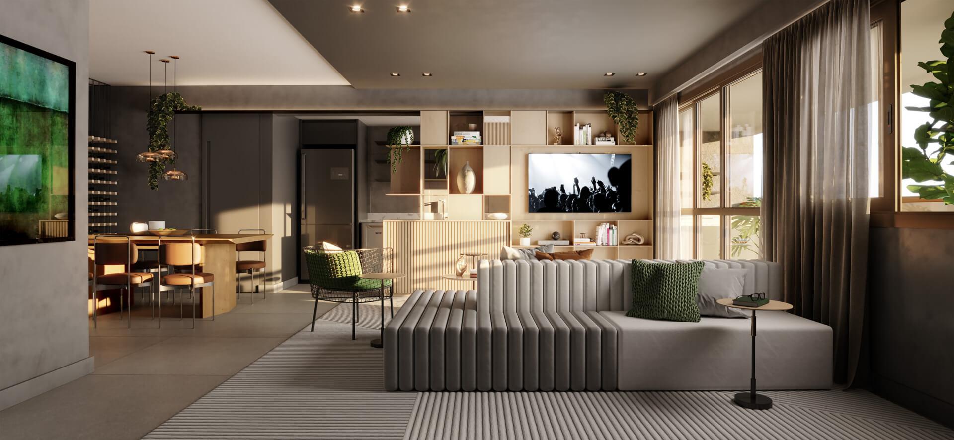SALA com de configuração ampliada criando um confortável ambiente de estar e jantar totalmente conectados. Essa sugestão de layout pode ser adquirida através do serviço de personalização, assim você pode escolher de acordo com suas necessidades.