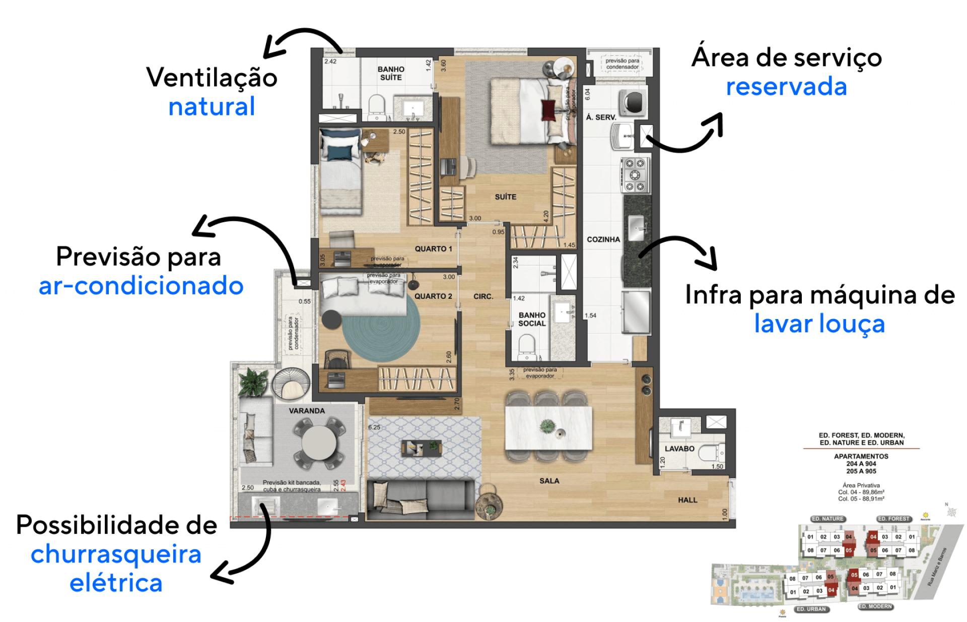 89 M² - 3 QUARTOS, SENDO 1 SUÍTE. Apartamentos com planta funcional para o dia a dia de uma família, com confortáveis quartos, sala de jantar e estar integradas, varanda e uma bela cozinha é uma configuração ideal para uma família de 4 pessoas.