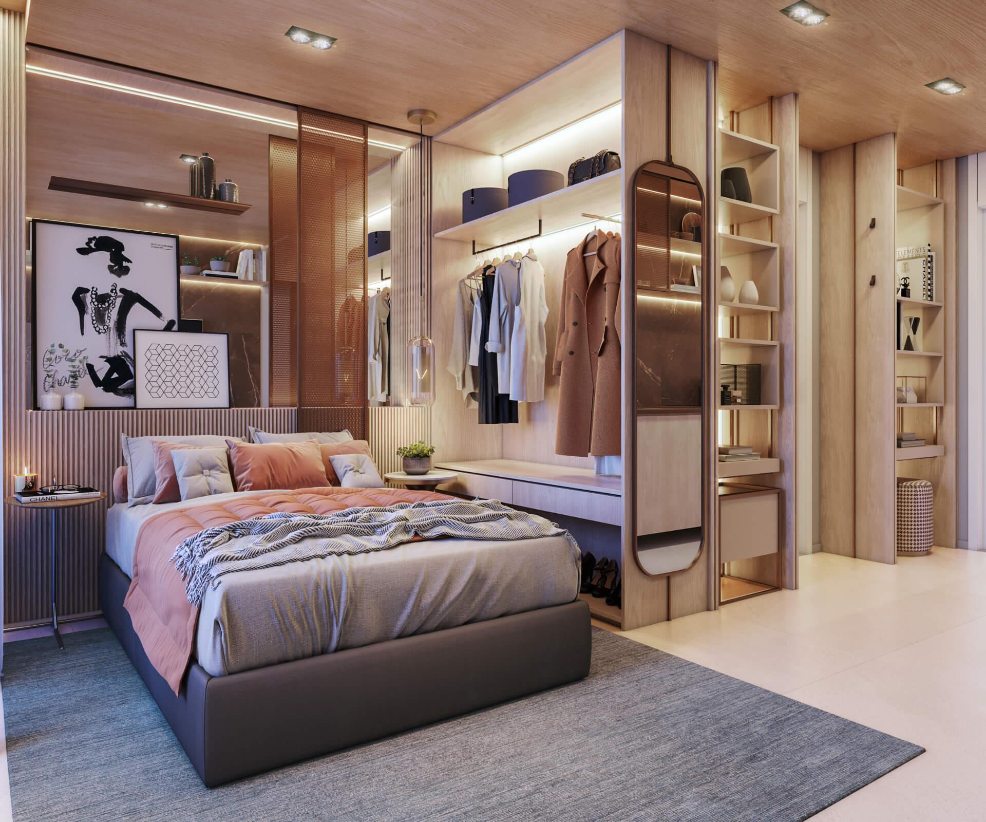 STUDIO de 25 m² com planta funcional integrando todos os ambientes internos. A sugestão de decoração, com mobiliário planejado, é uma possibilidade para você aproveitar melhor todo o espaço e ter ampla área de armazenamento.
