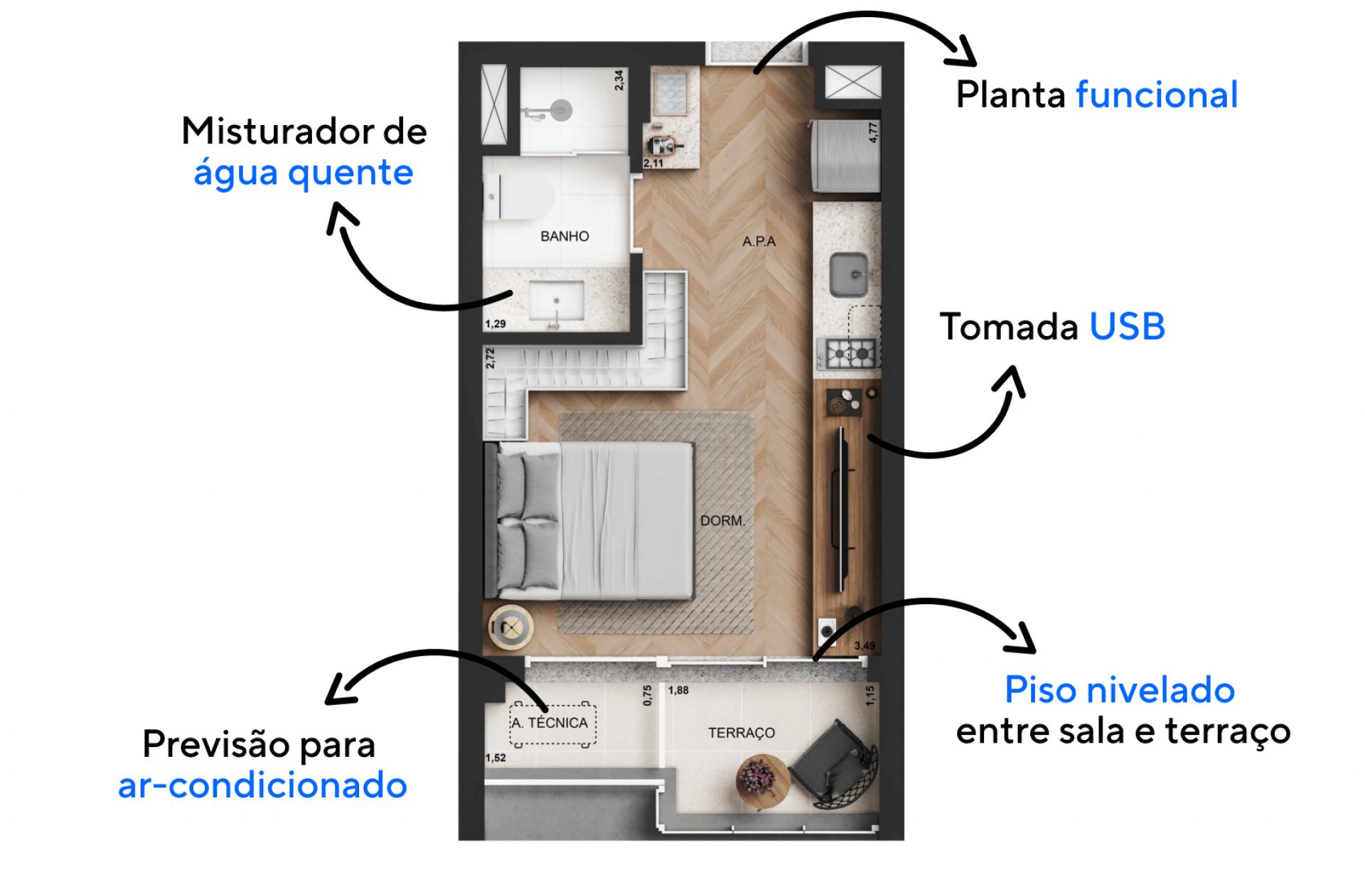 25 M² - STUDIO com planta funcional integrando totalmente os ambientes internos. Dando uso aos espaços compactos e criando uma configuração prática essa tipologia é ideal para quem tem um estilo de vida moderno e urbano!