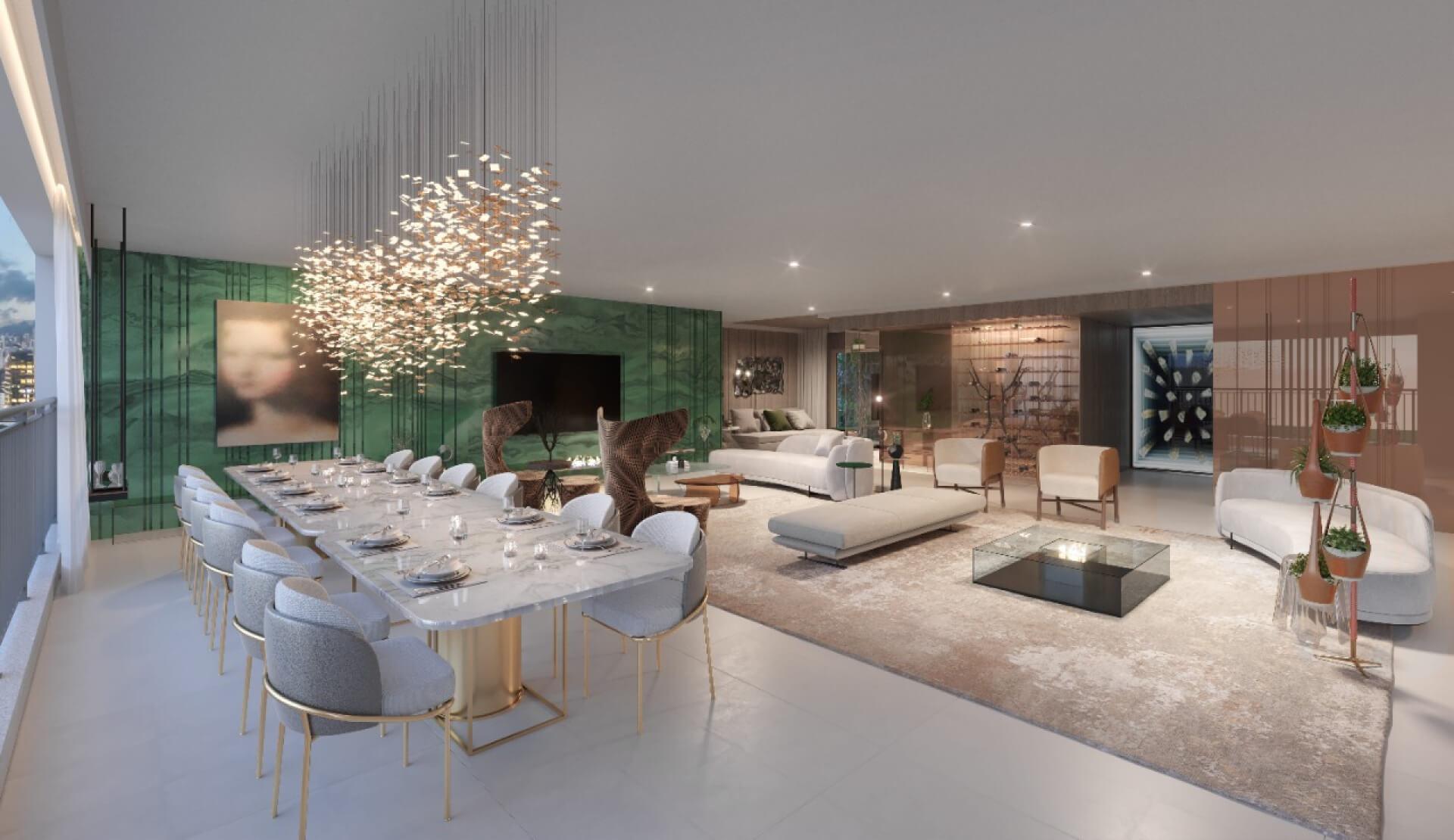 LIVING do apto de 272 m² integrado ao terraço criando uma ampla área social que proporciona flexibilidade na configuração do ambiente, assim você pode criar diversas áreas para receber como espaços de estar e uma extensa sala de jantar.