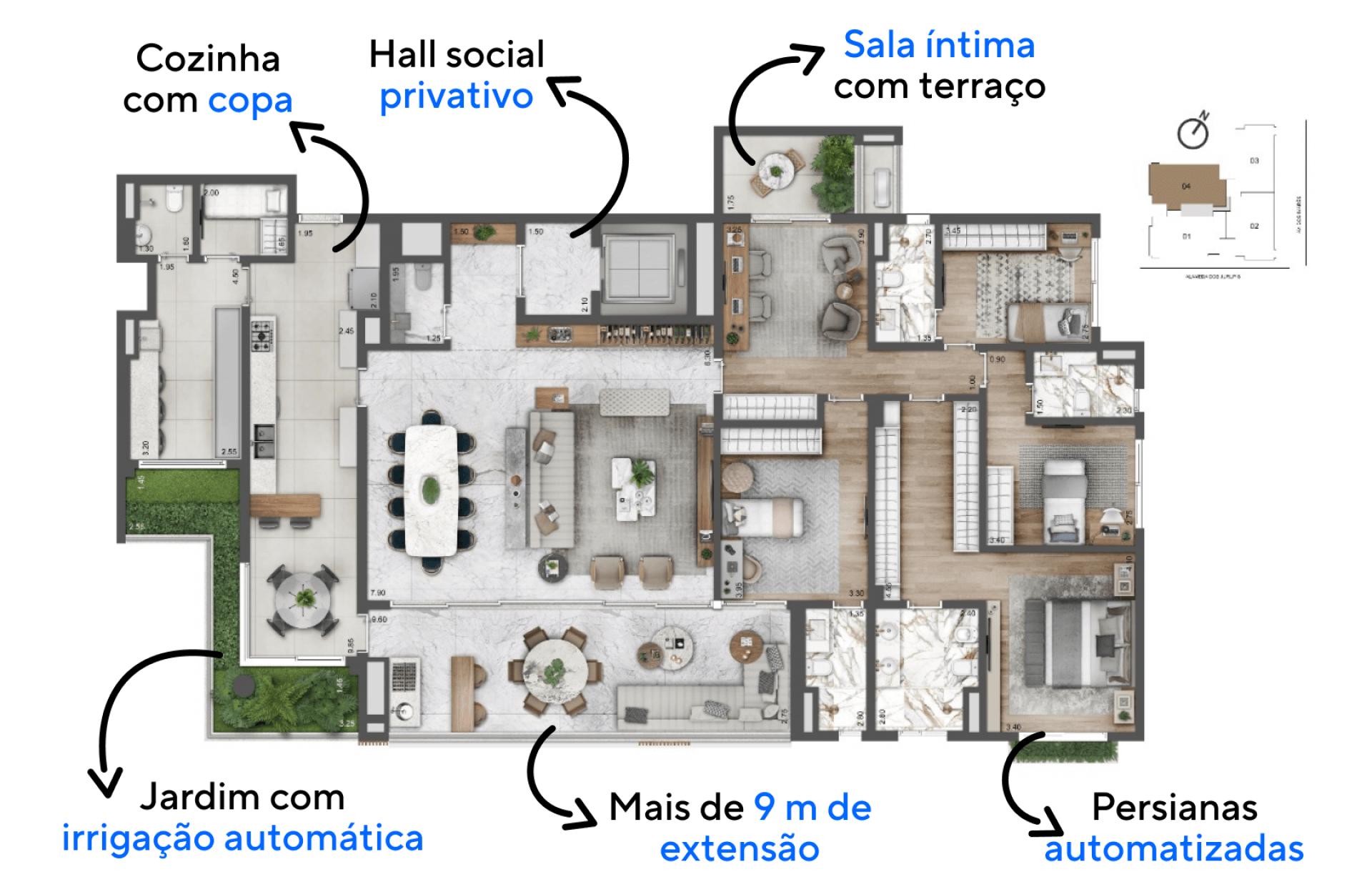 273 M² - 4 SUÍTES. Apartamentos com boa setorização entre os ambientes sociais e íntimos, proporcionando maior privacidade aos momentos de descanso dos moradores. Destaque para a confortável suíte master com closet e espaço para cama king size.