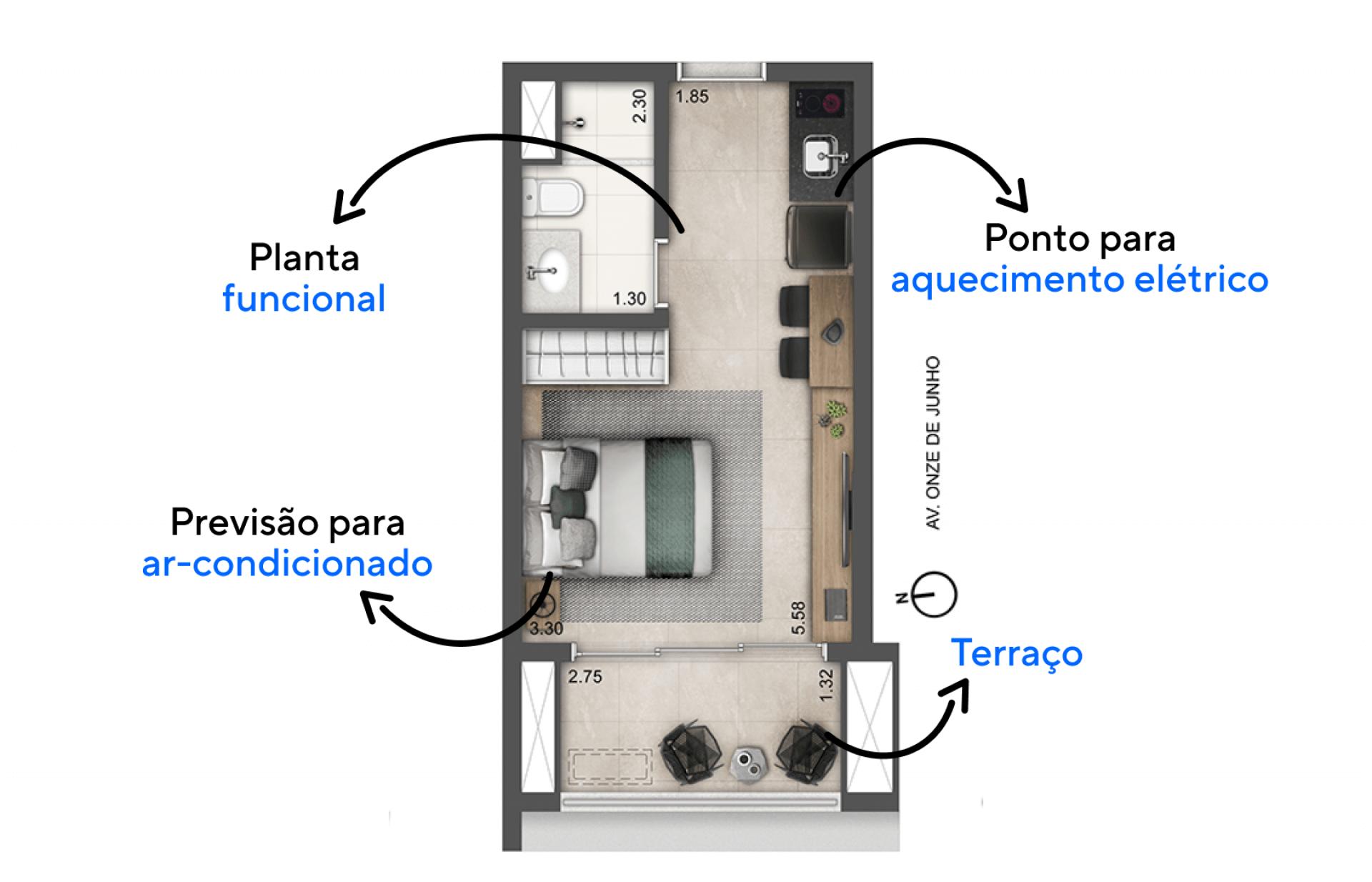 25 M² - STUDIO com plantas funcionais e compactadas que integram totalmente os ambientes internos, uma configuração para quem tem um dia a dia prático e moderno.