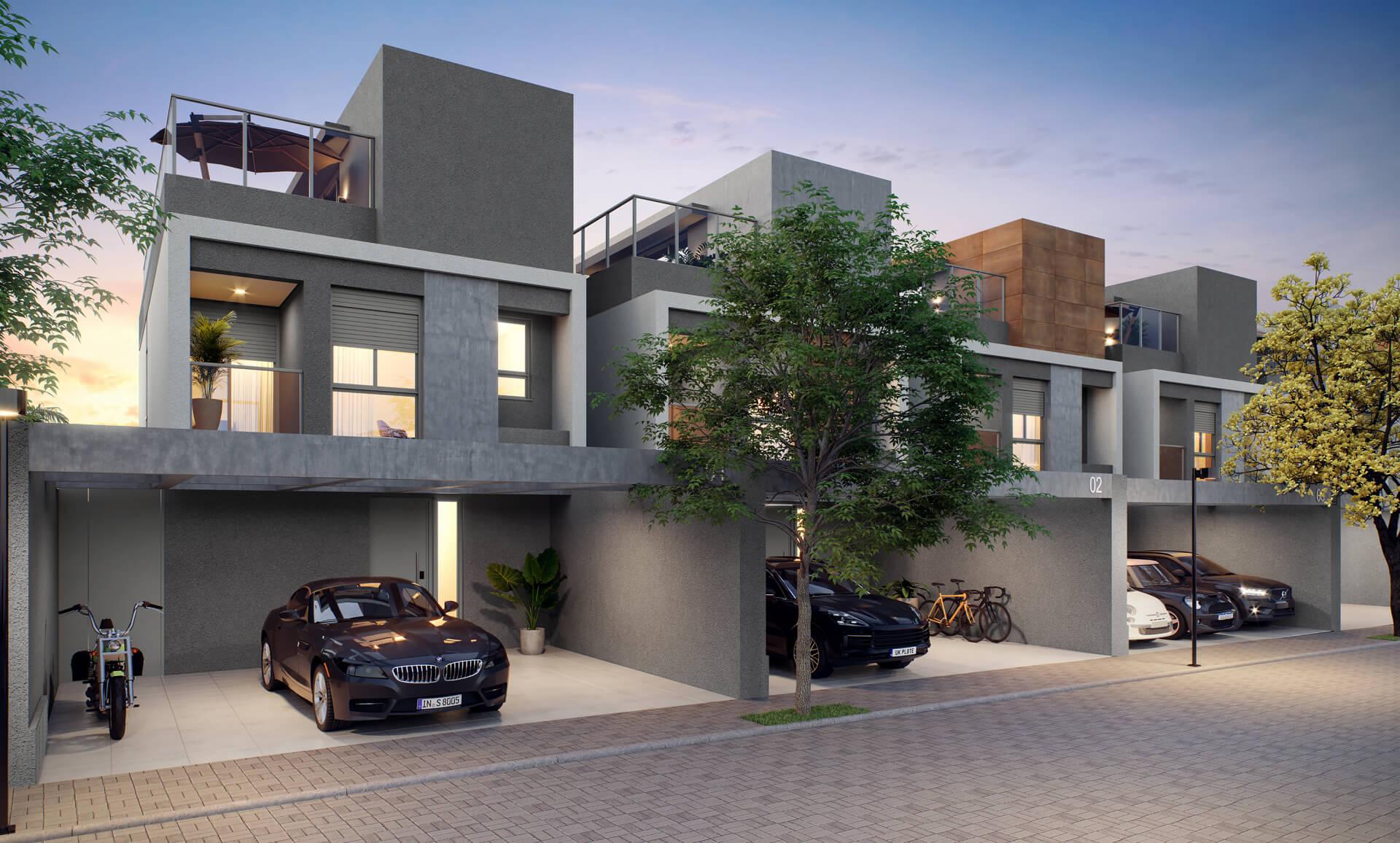 FACHADA das casas com vagas de garagem localizadas no pavimento inferior. Todas as residências têm direito a 3 vagas com acesso direto para a entrada de serviço, uma facilidade para o seu dia a dia.