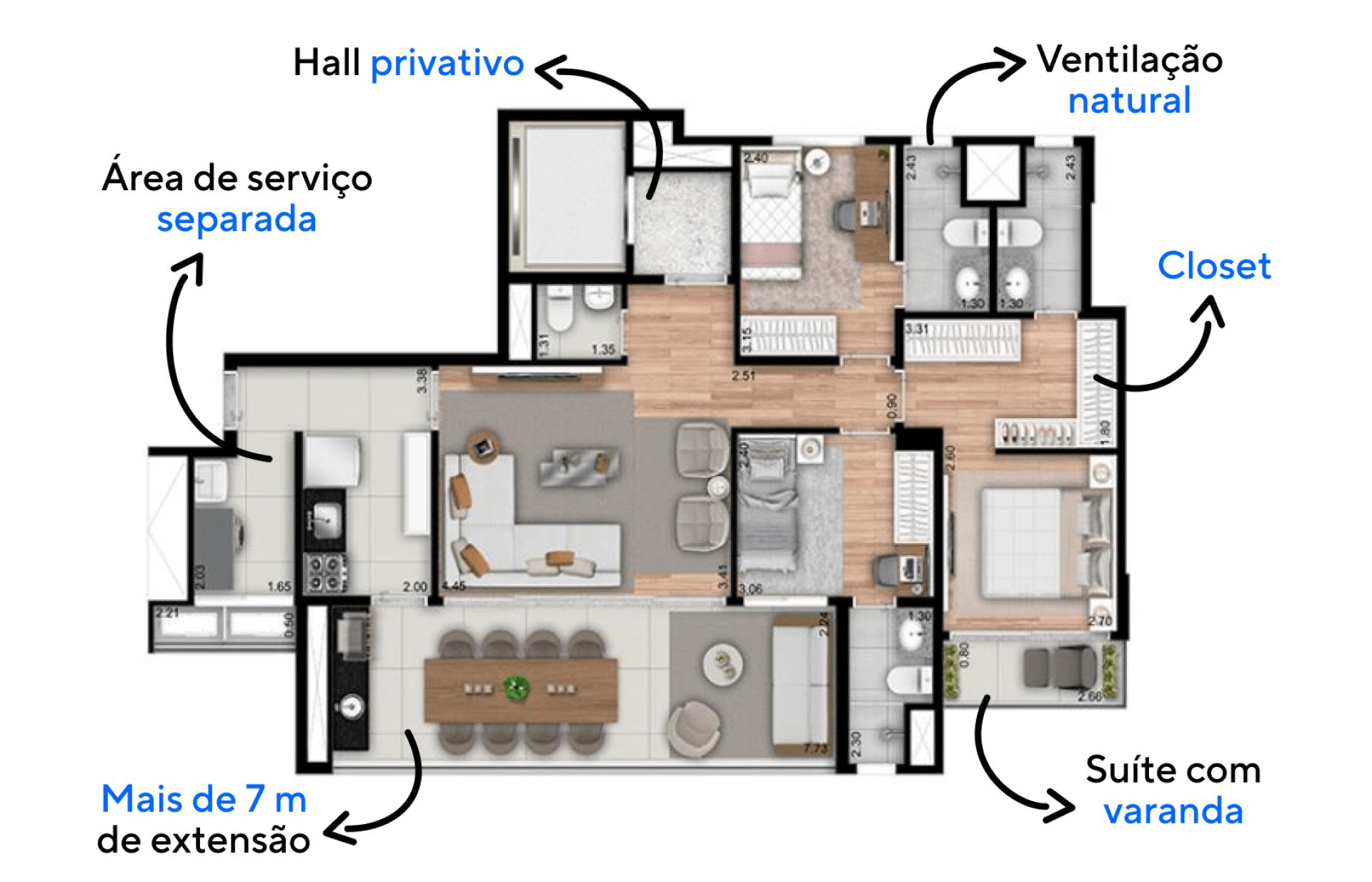 112 M² - 3 SUÍTES. Apartamentos com hall social privativo, elevador com acesso por biometria e entrada de serviço, uma configuração que proporciona privacidade e otimiza a rotina da sua família.