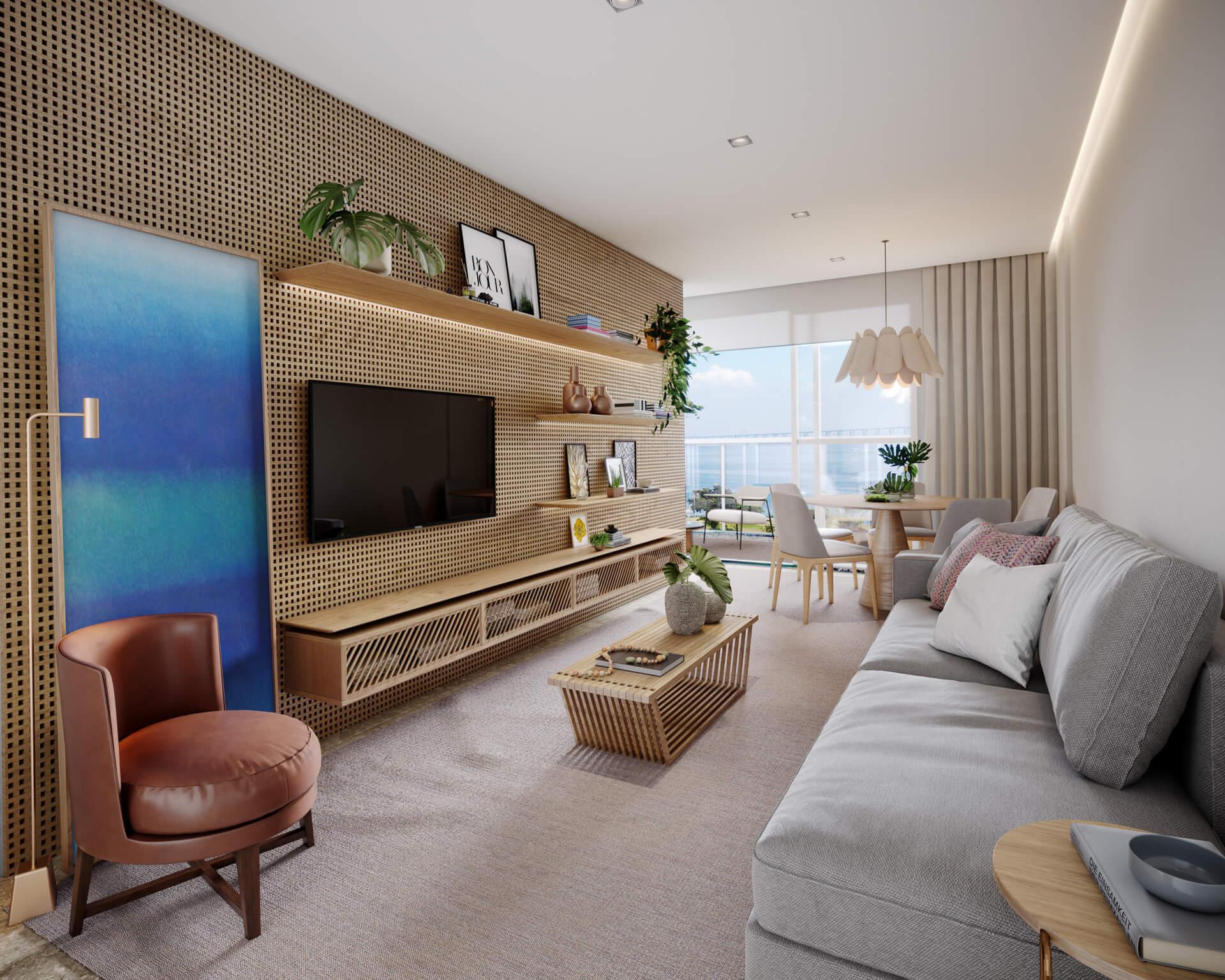SALA do apto 802 do Edifício Brisa, com infra para ar-condicionado e piso entregue com revestimento laminado. Conforto para o seu cotidiano.