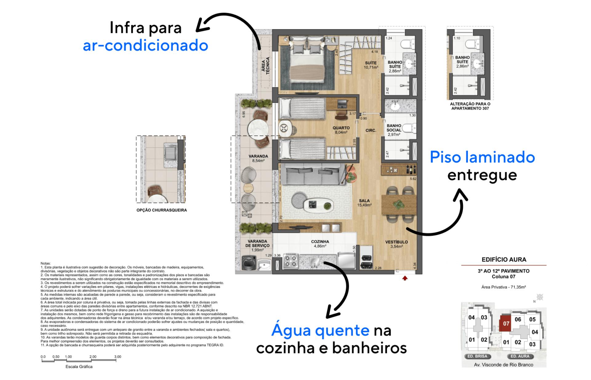 71 M² - 2 DORMITÓRIOS, SENDO 1 SUÍTE. Apartamentos entregues com piso laminado na área social e dormitórios, proporcionando espaços aconchegantes para viver confortavelmente.