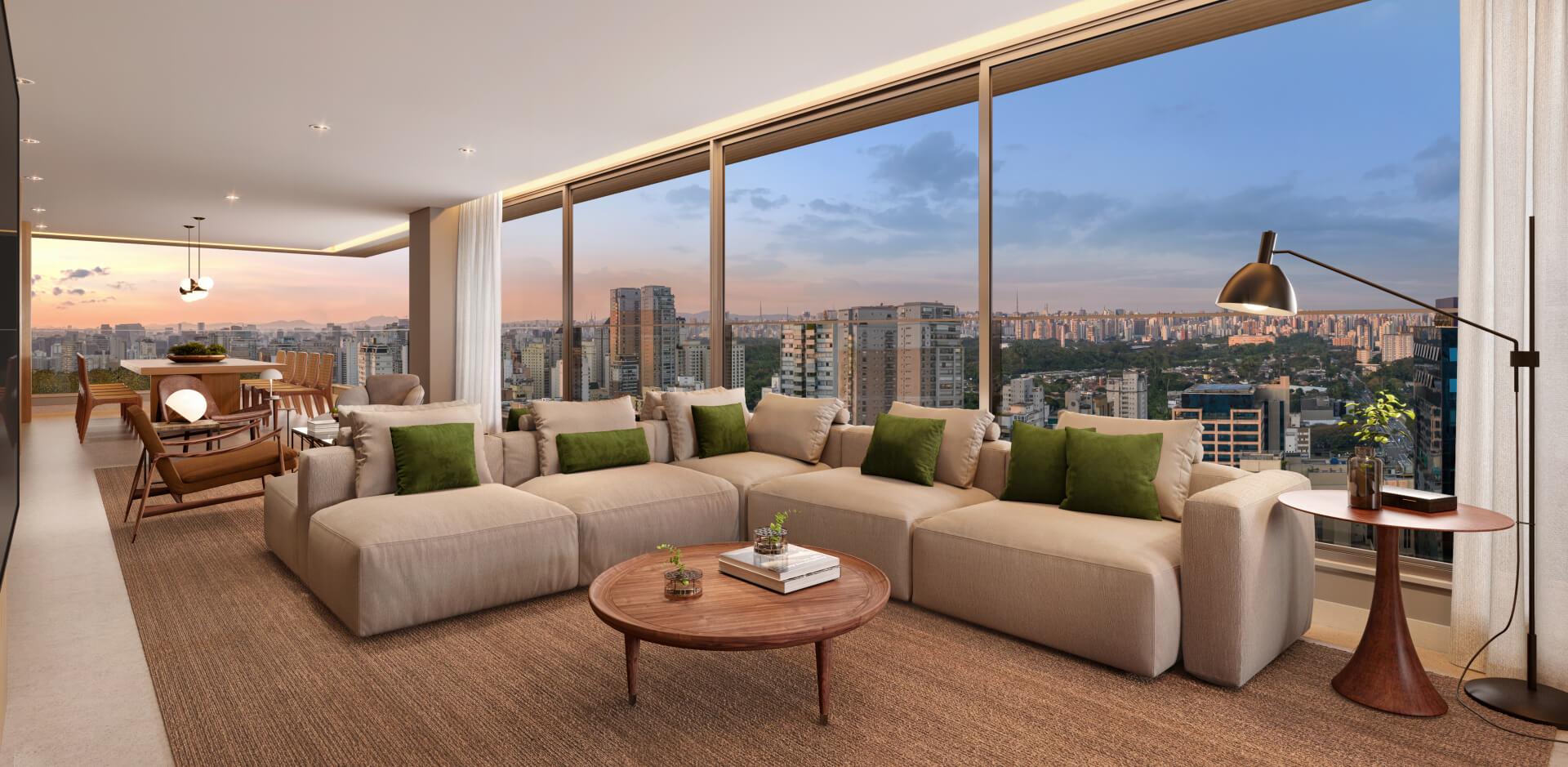 LIVING do apto de 197 m² com confortável área social, possibilitando um amplo espaço para receber convidados. Destaque para o terraço que contorna os ambientes sociais, que além de garantir boa iluminação, possibilita bela vista de Moema.