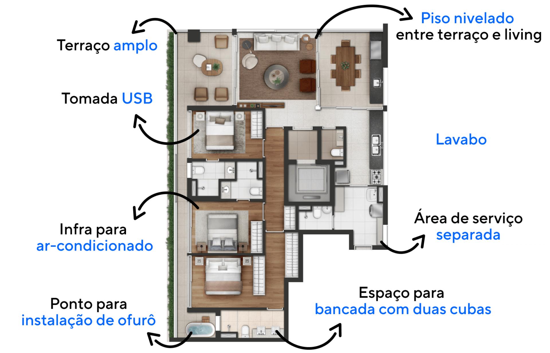 147 M² - 3 SUÍTES. Apartamentos com acesso exclusivo feito através do hall social privativo, equipado com fechadura biométrica a bela entrada leva seus convidados diretamente a área social da sua unidade.